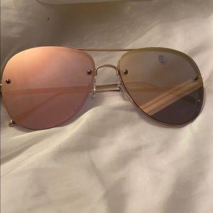 Pink/orange gradient aviator shaped sunglasses